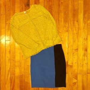 Forever 21 Black + Blue Color block Skirt
